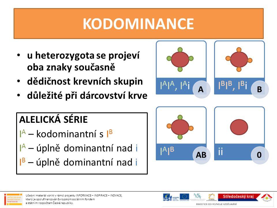 KODOMINANCE u heterozygota se projeví oba znaky současně