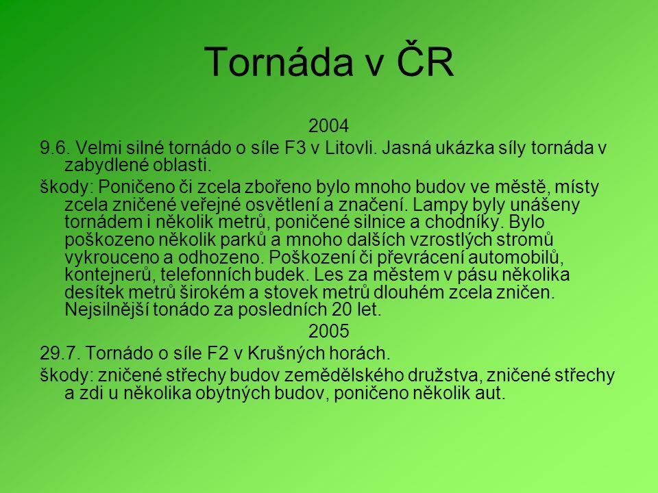 Tornáda v ČR 2004. 9.6. Velmi silné tornádo o síle F3 v Litovli. Jasná ukázka síly tornáda v zabydlené oblasti.