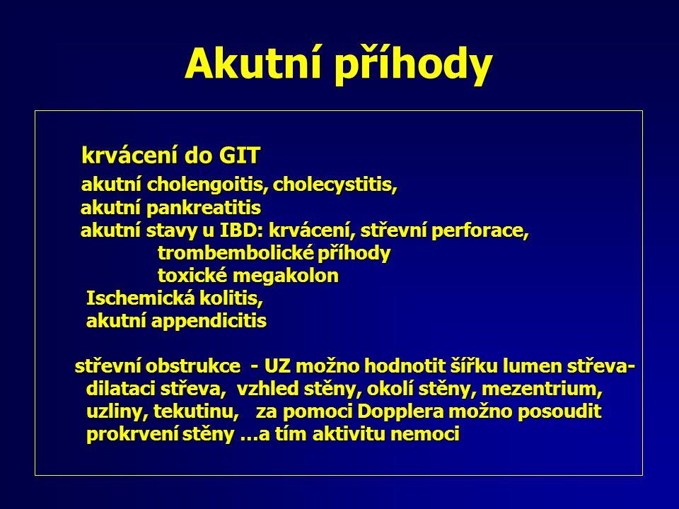 Akutní příhody krvácení do GIT akutní cholengoitis, cholecystitis,