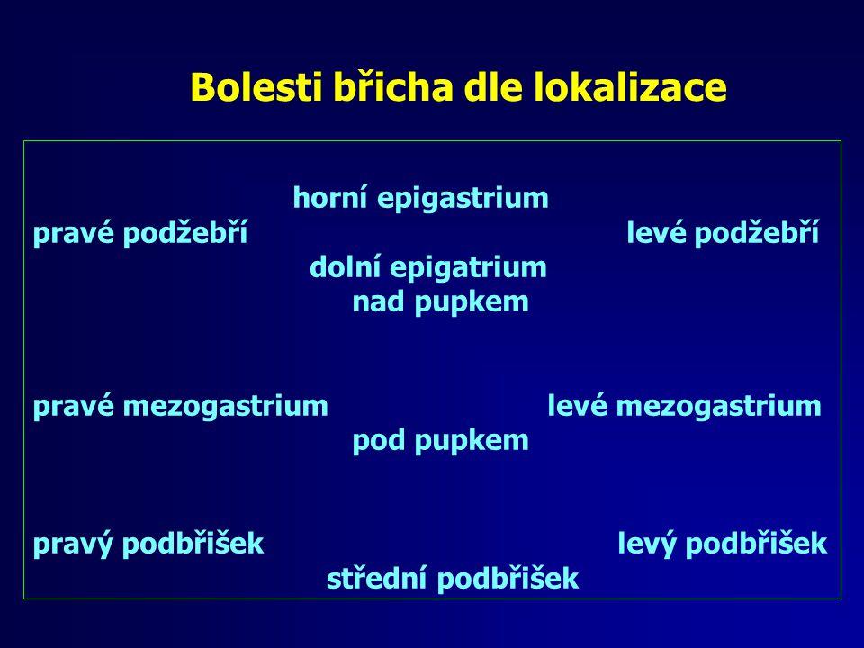 Bolesti břicha dle lokalizace