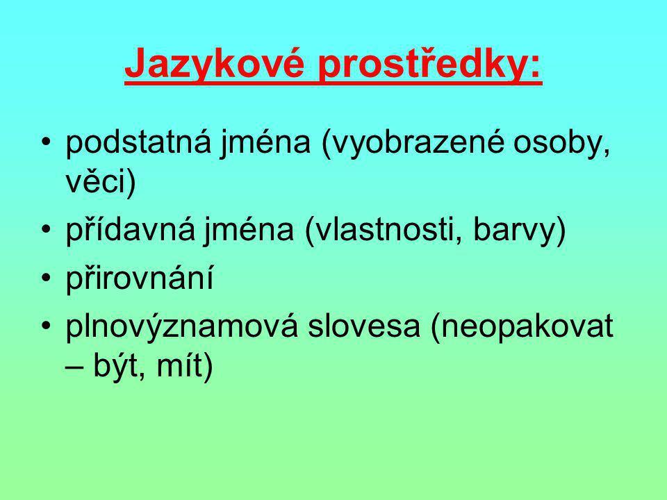 Jazykové prostředky: podstatná jména (vyobrazené osoby, věci)
