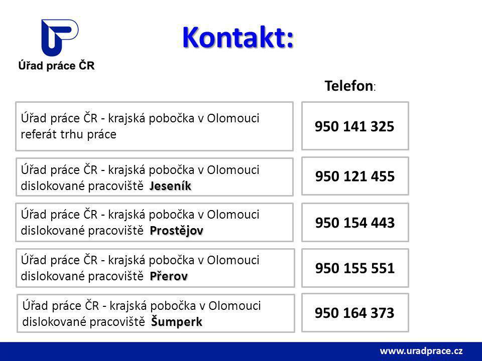 Kontakt: Telefon: Úřad práce ČR - krajská pobočka v Olomouci. referát trhu práce. 950 141 325. Úřad práce ČR - krajská pobočka v Olomouci.