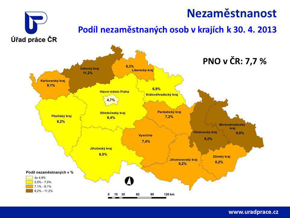Nezaměstnanost Podíl nezaměstnaných osob v krajích k 30. 4. 2013