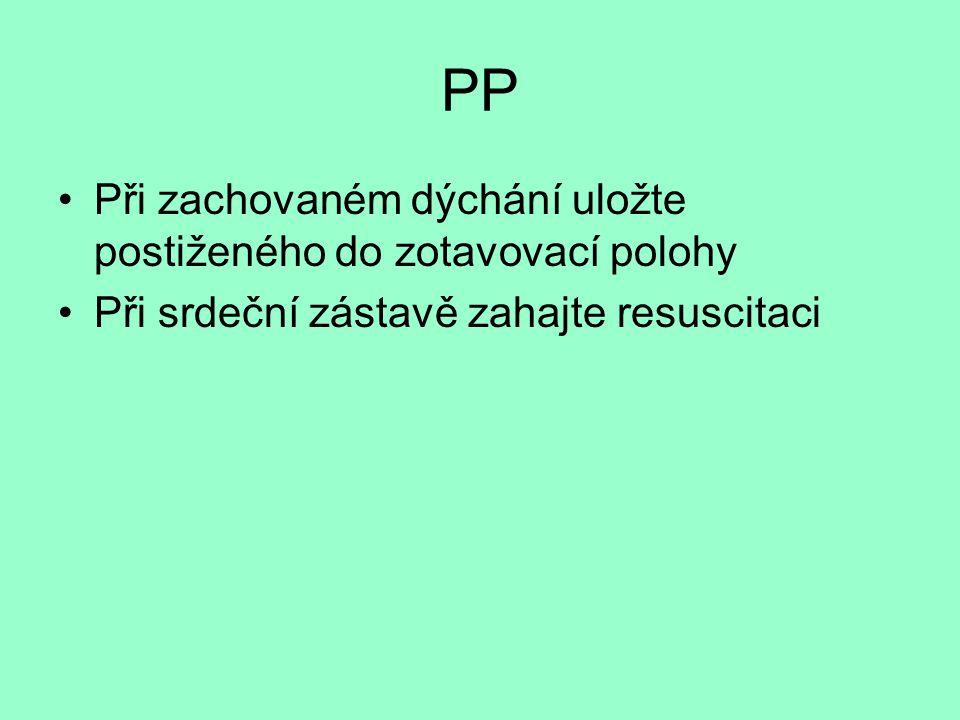 PP Při zachovaném dýchání uložte postiženého do zotavovací polohy