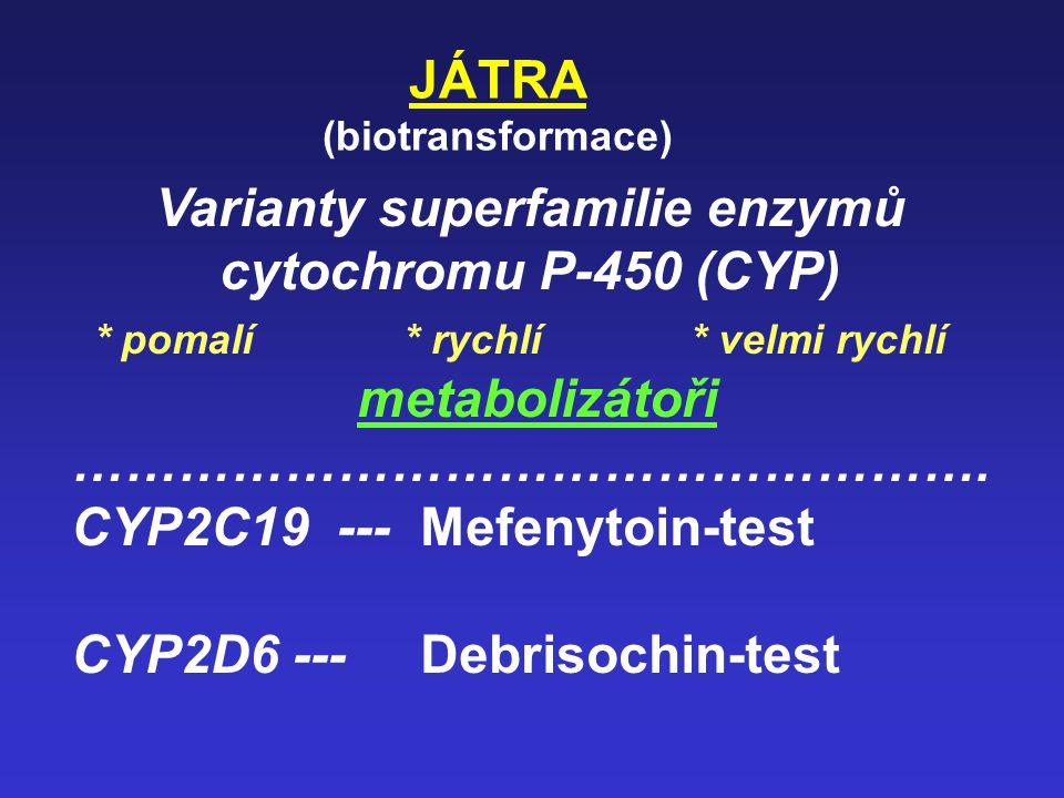 Varianty superfamilie enzymů cytochromu P-450 (CYP)