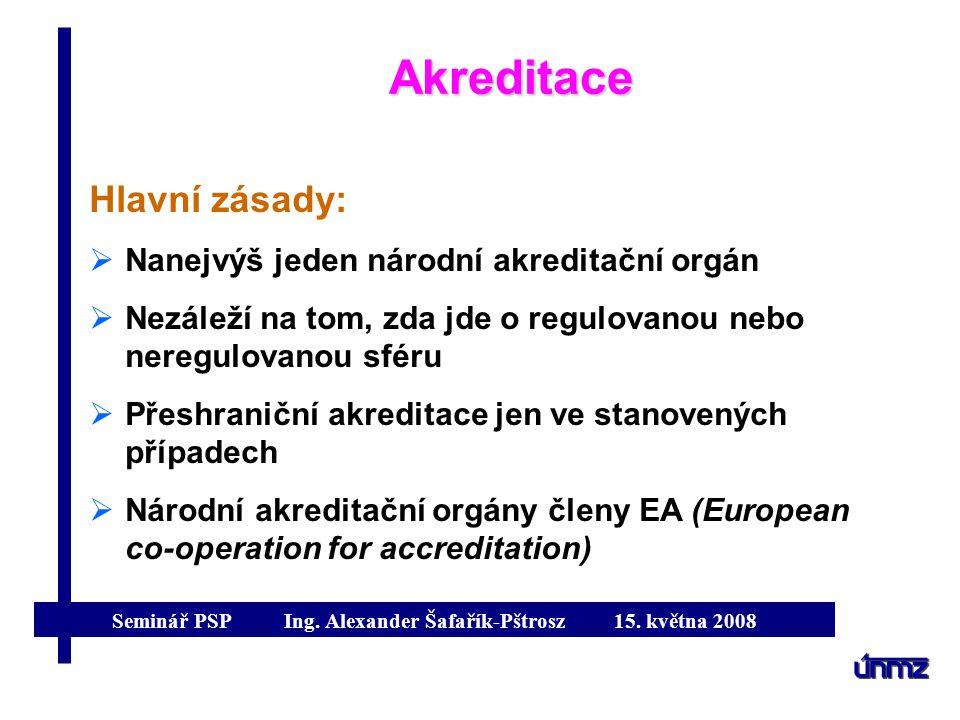 Akreditace Hlavní zásady: Nanejvýš jeden národní akreditační orgán