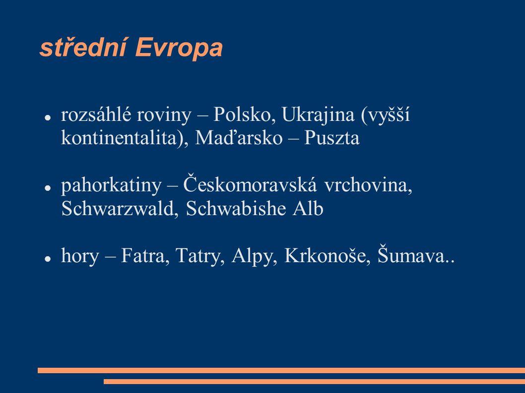 střední Evropa rozsáhlé roviny – Polsko, Ukrajina (vyšší kontinentalita), Maďarsko – Puszta.