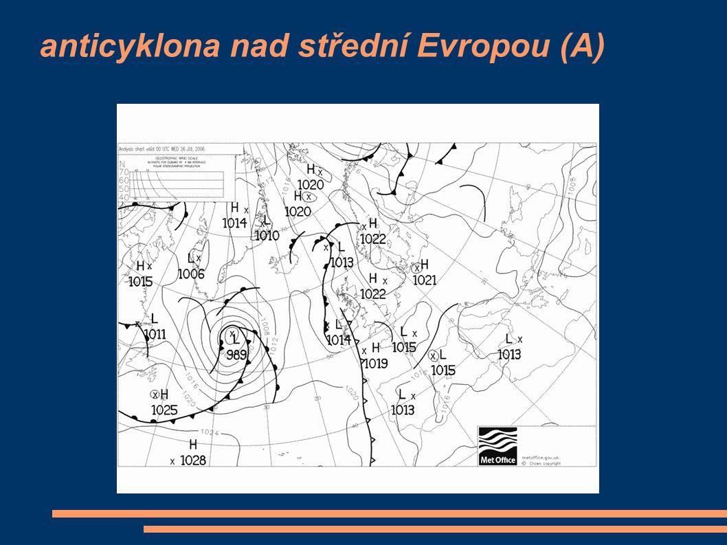 anticyklona nad střední Evropou (A)