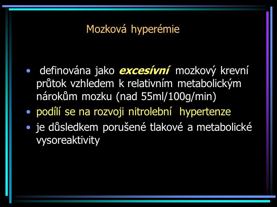 Mozková hyperémie definována jako excesívní mozkový krevní průtok vzhledem k relativním metabolickým nárokům mozku (nad 55ml/100g/min)