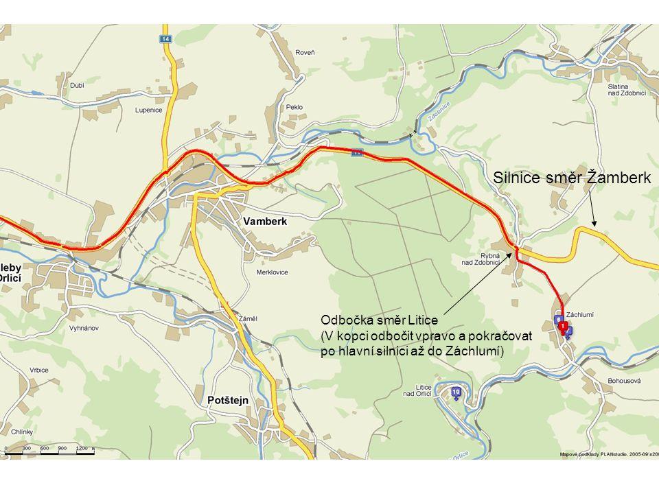 Silnice směr Žamberk Odbočka směr Litice