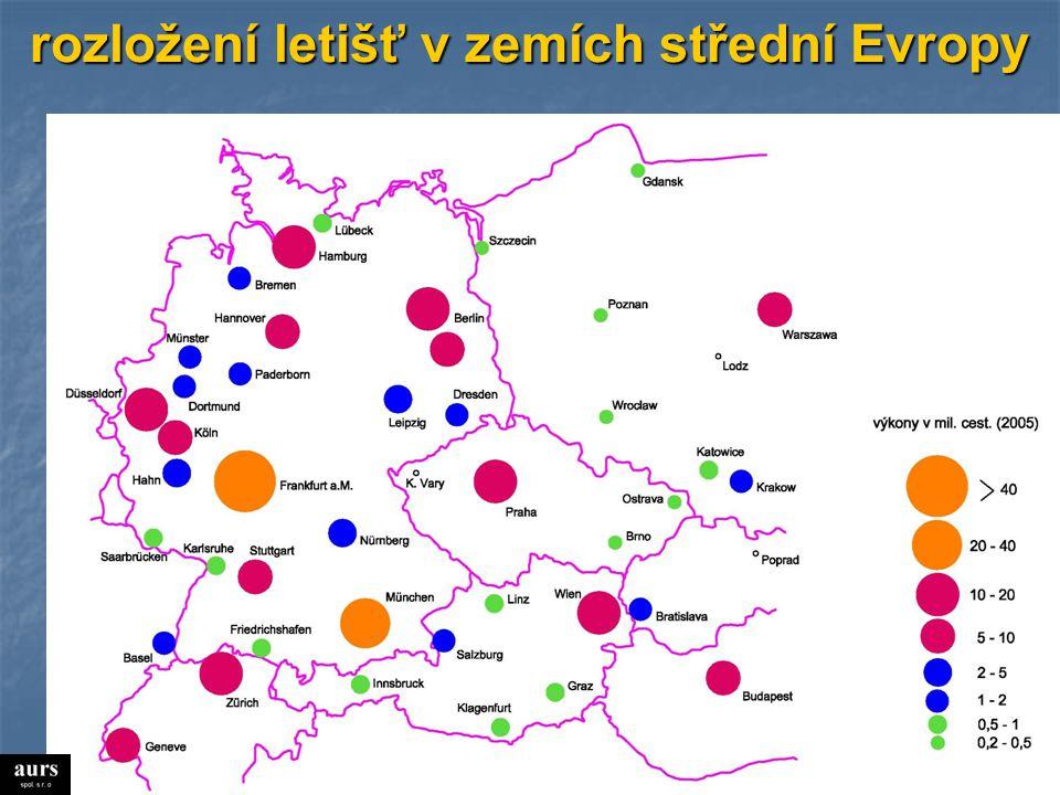 rozložení letišť v zemích střední Evropy