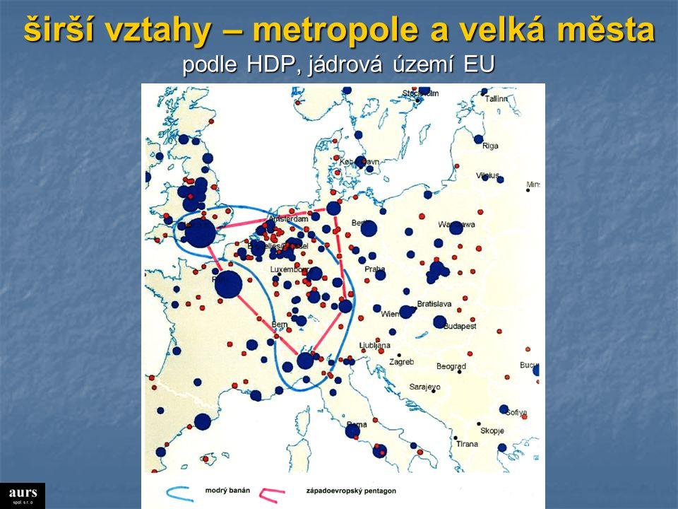 širší vztahy – metropole a velká města podle HDP, jádrová území EU