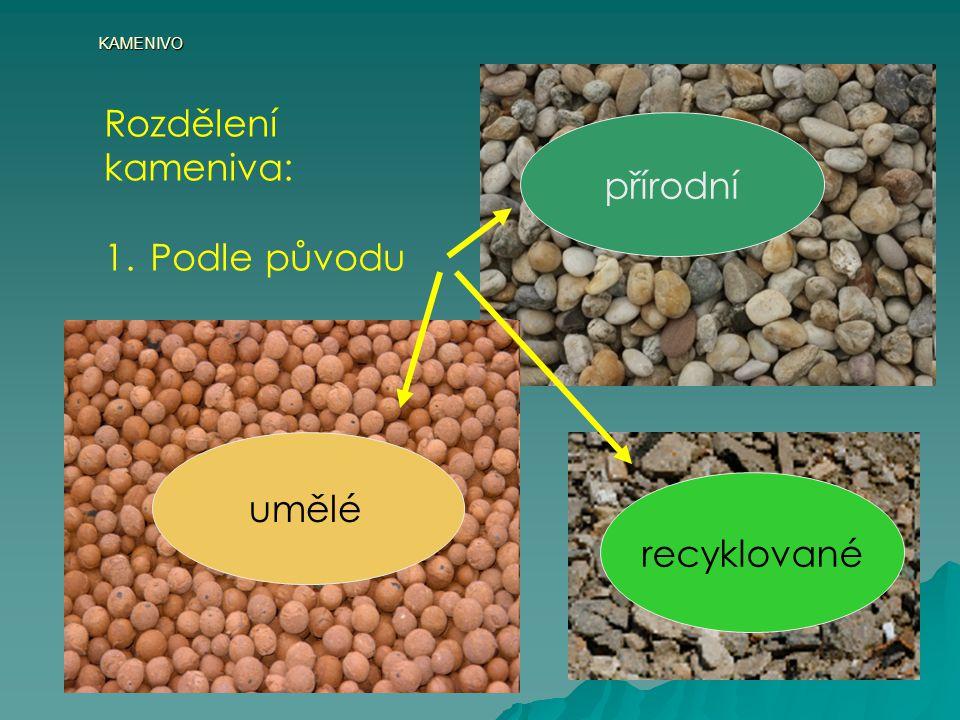 KAMENIVO Rozdělení kameniva: Podle původu přírodní recyklované umělé