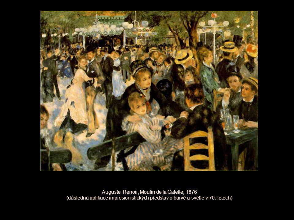 Auguste Renoir, Moulin de la Galette, 1876 (důsledná aplikace impresionistických představ o barvě a světle v 70.