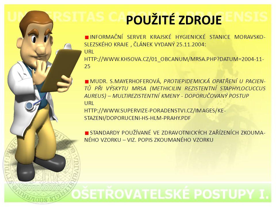 POUŽITÉ ZDROJE INFORMAČNÍ SERVER KRAJSKÉ HYGIENICKÉ STANICE MORAVSKO-SLEZSKÉHO KRAJE , ČLÁNEK VYDANÝ 25.11.2004: