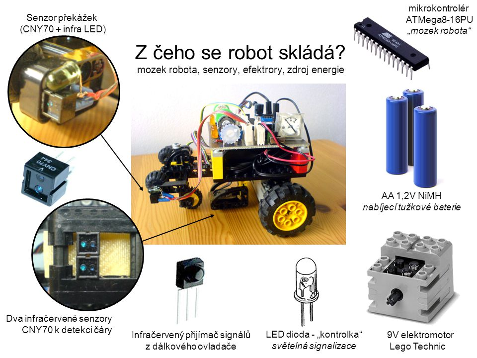 "mikrokontrolér ATMega8-16PU. ""mozek robota Senzor překážek. (CNY70 + infra LED)"