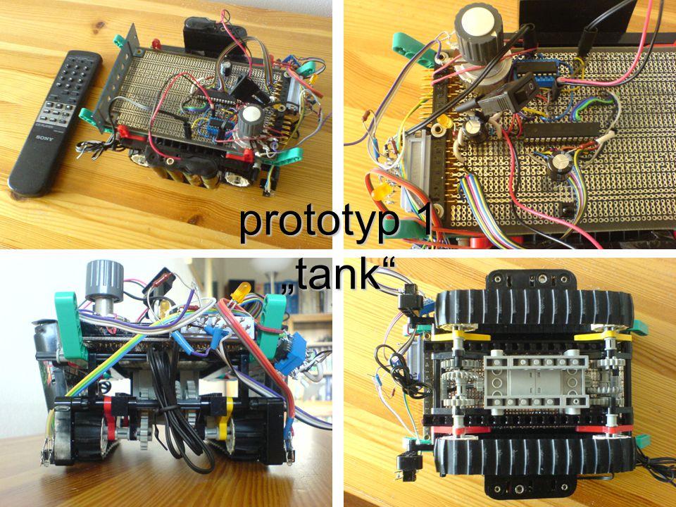 """prototyp 1 """"tank Toto je můj první robot. Má pásový podvozek"""