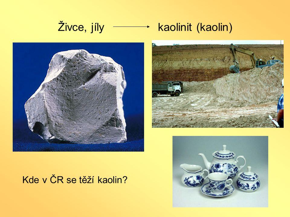 Živce, jíly kaolinit (kaolin)