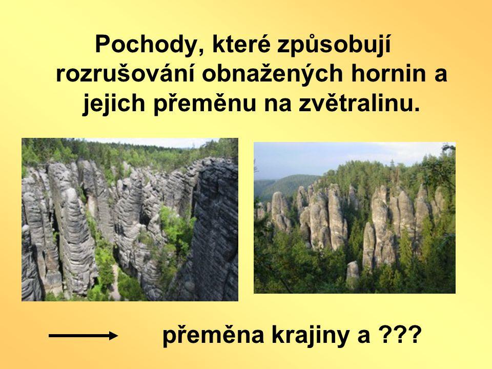 Pochody, které způsobují rozrušování obnažených hornin a jejich přeměnu na zvětralinu.