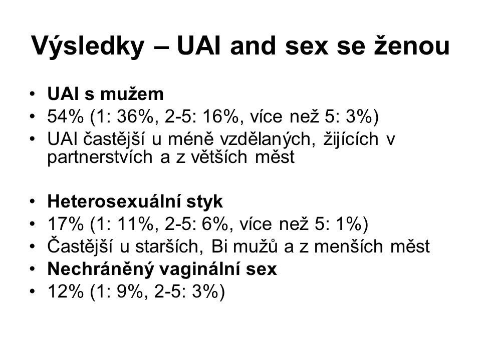 Výsledky – UAI and sex se ženou