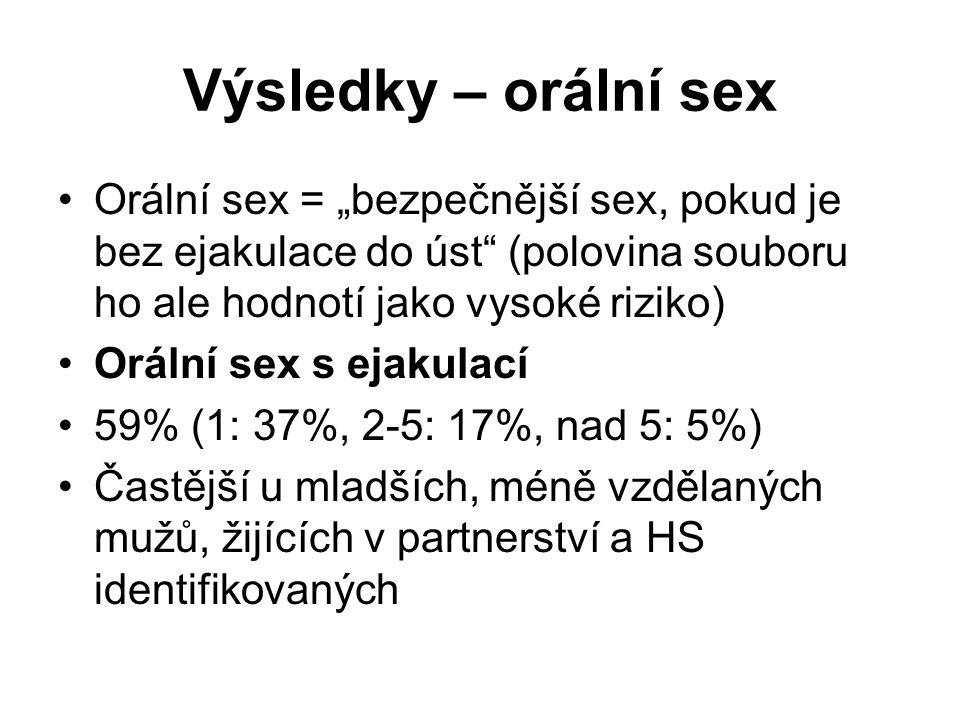 """Výsledky – orální sex Orální sex = """"bezpečnější sex, pokud je bez ejakulace do úst (polovina souboru ho ale hodnotí jako vysoké riziko)"""