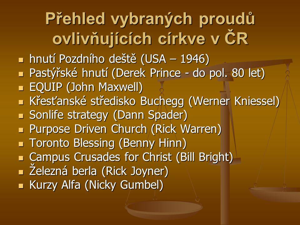 Přehled vybraných proudů ovlivňujících církve v ČR