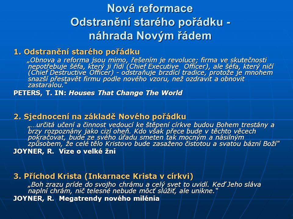 Nová reformace Odstranění starého pořádku - náhrada Novým řádem