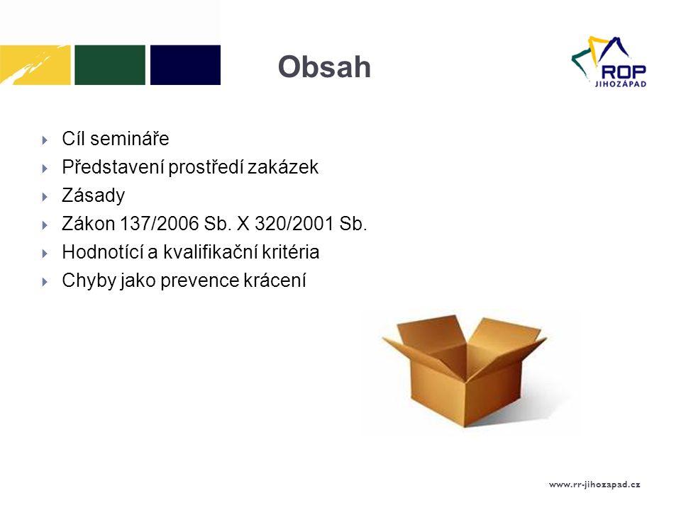 Obsah Cíl semináře Představení prostředí zakázek Zásady
