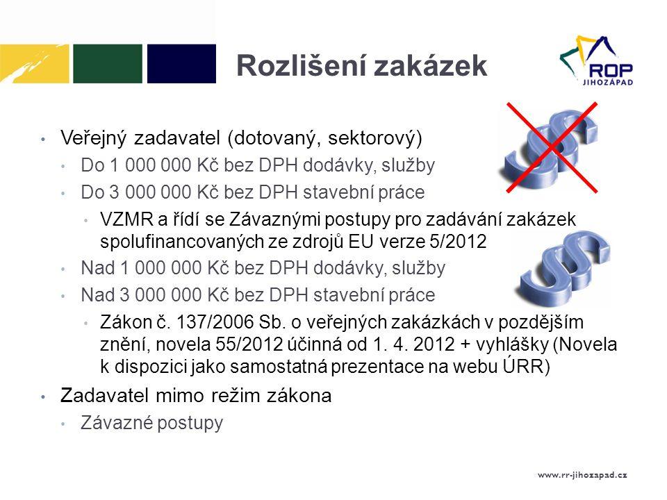 Rozlišení zakázek Veřejný zadavatel (dotovaný, sektorový)