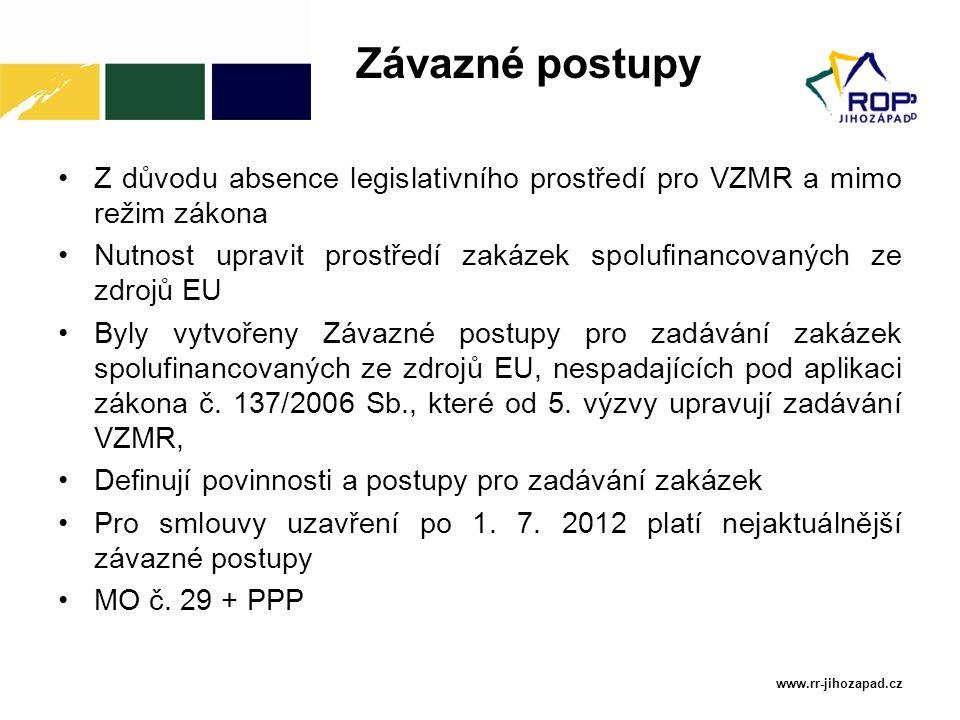 Závazné postupy Z důvodu absence legislativního prostředí pro VZMR a mimo režim zákona.