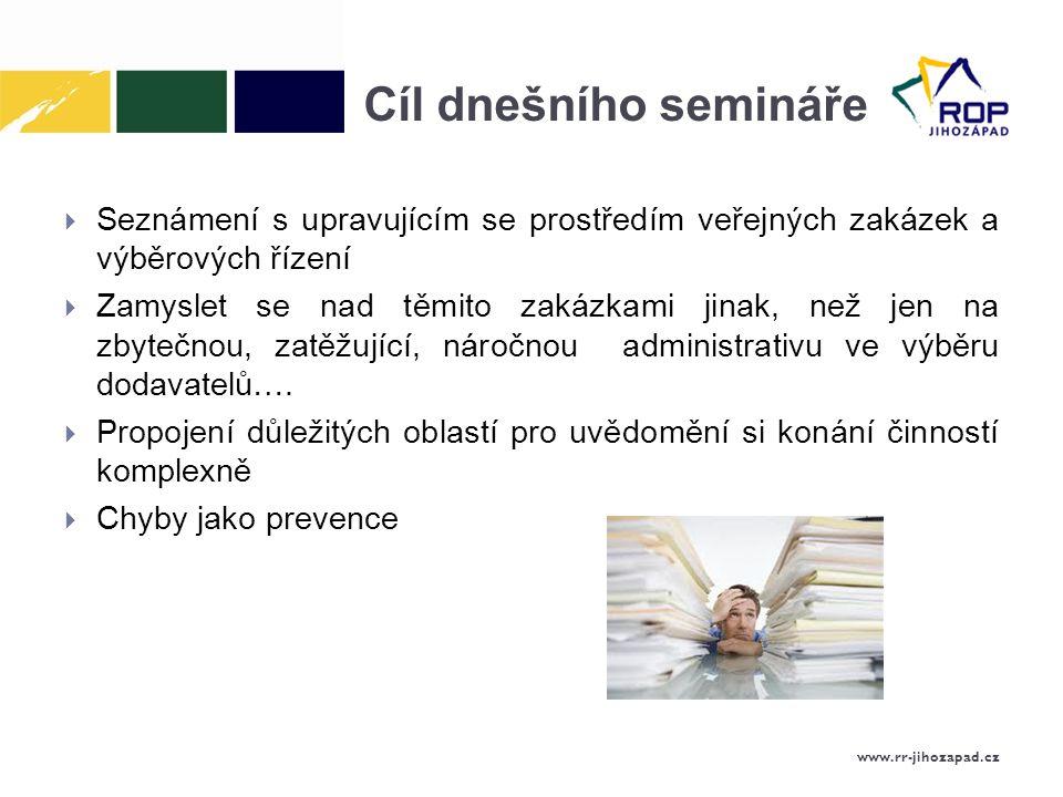 Cíl dnešního semináře Seznámení s upravujícím se prostředím veřejných zakázek a výběrových řízení.