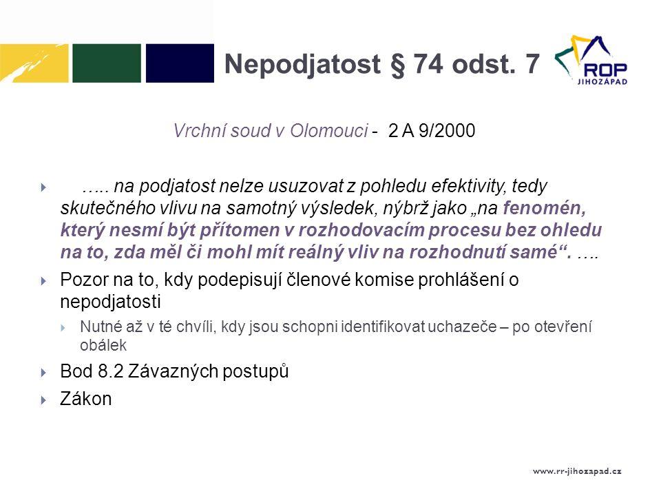 Nepodjatost § 74 odst. 7 Vrchní soud v Olomouci - 2 A 9/2000