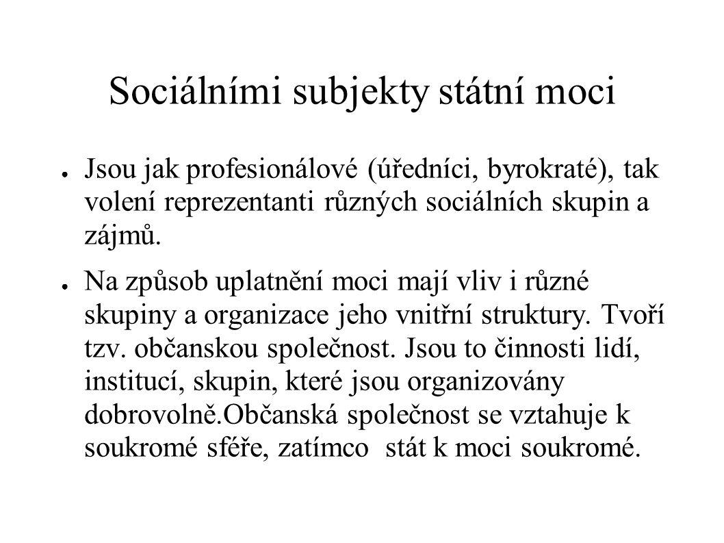 Sociálními subjekty státní moci