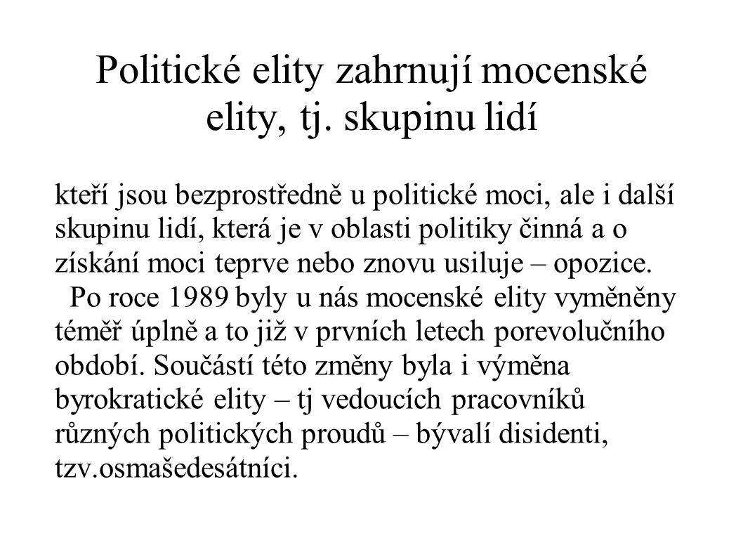 Politické elity zahrnují mocenské elity, tj. skupinu lidí
