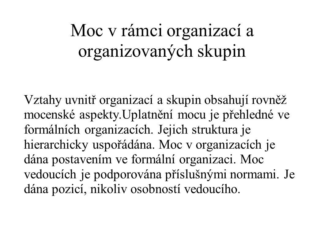 Moc v rámci organizací a organizovaných skupin