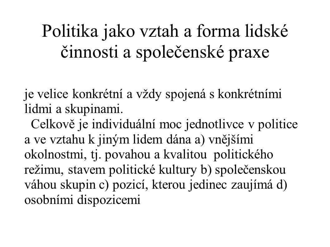 Politika jako vztah a forma lidské činnosti a společenské praxe