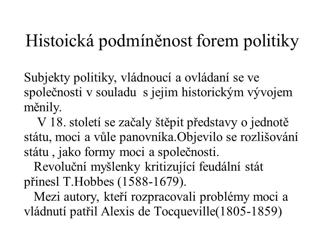 Histoická podmíněnost forem politiky