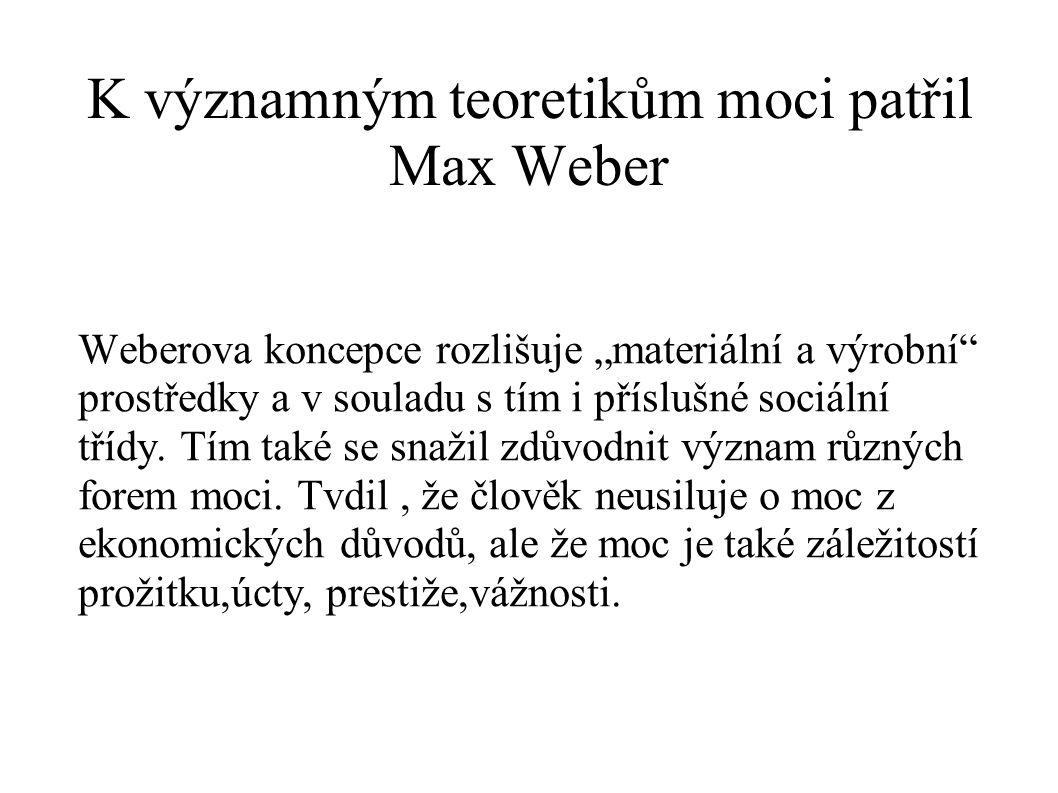 K významným teoretikům moci patřil Max Weber