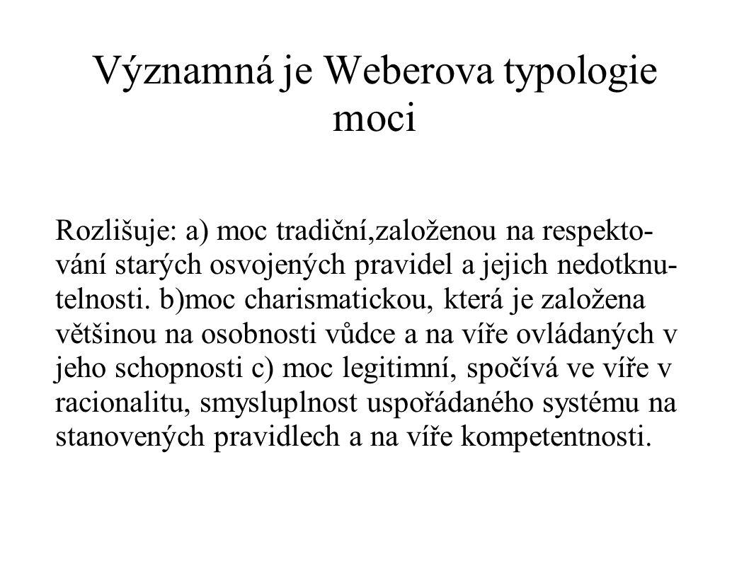 Významná je Weberova typologie moci
