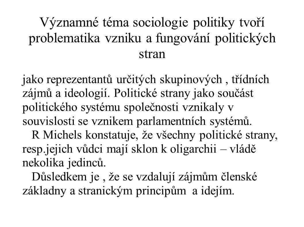 Významné téma sociologie politiky tvoří problematika vzniku a fungování politických stran