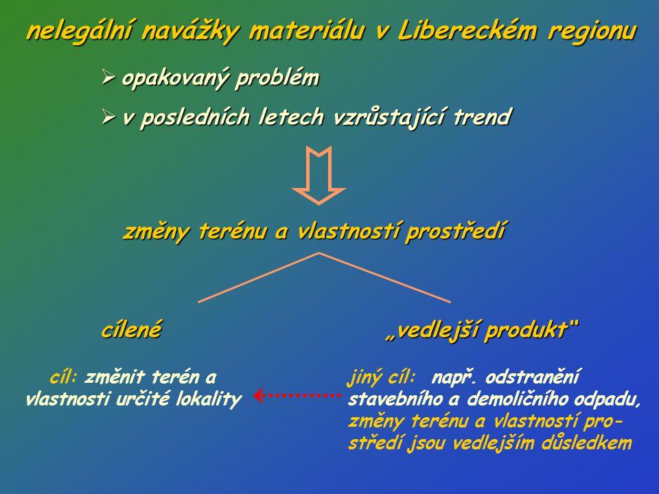 nelegální navážky materiálu v Libereckém regionu