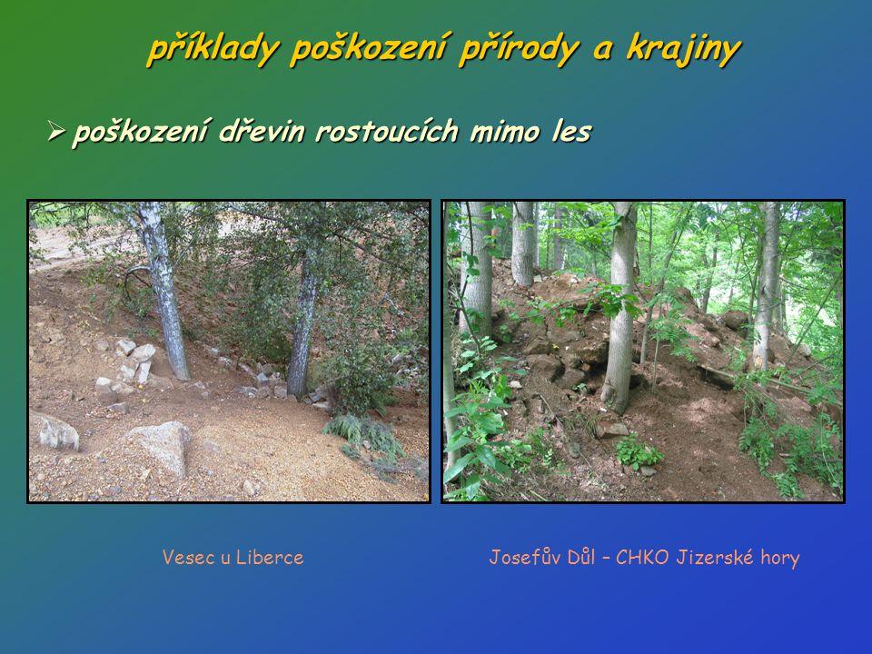 příklady poškození přírody a krajiny