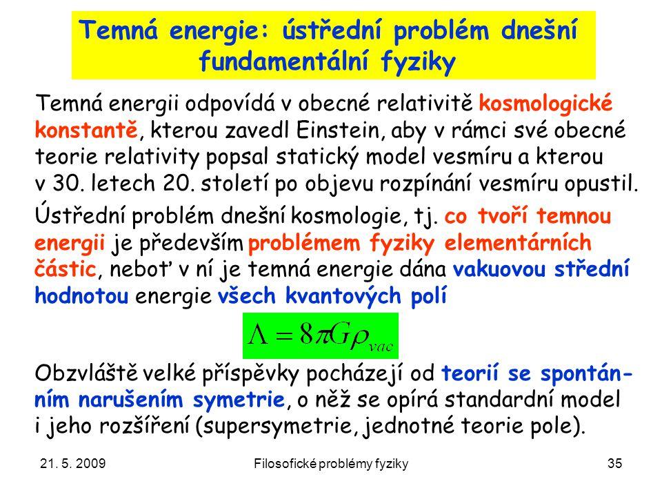 Temná energie: ústřední problém dnešní