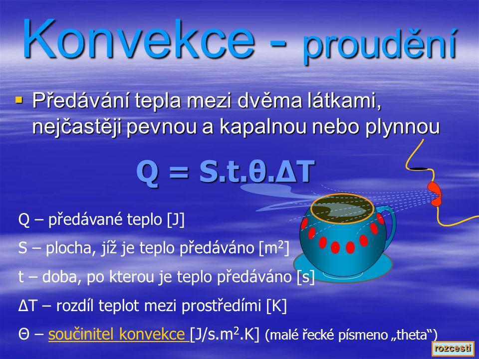 Konvekce - proudění Q = S.t.θ.ΔT