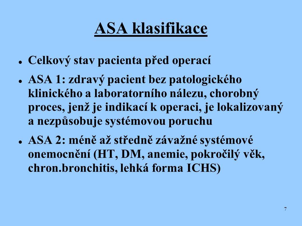 ASA klasifikace Celkový stav pacienta před operací