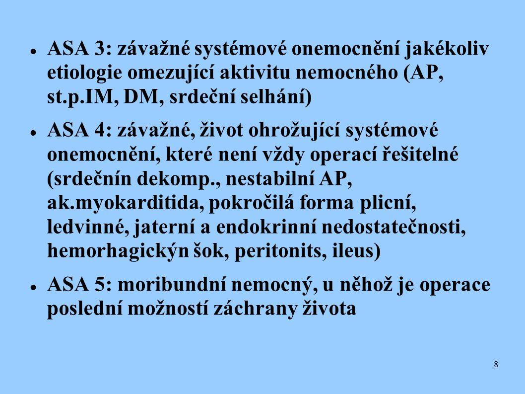 ASA 3: závažné systémové onemocnění jakékoliv etiologie omezující aktivitu nemocného (AP, st.p.IM, DM, srdeční selhání)