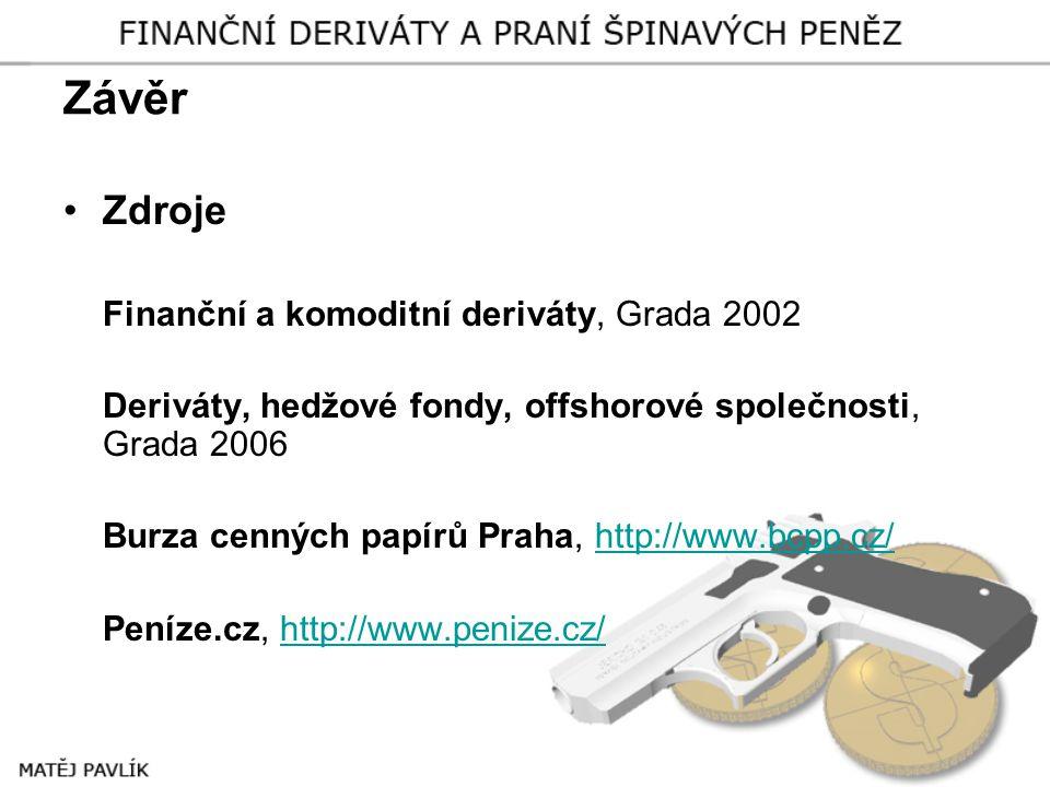 Závěr Zdroje Finanční a komoditní deriváty, Grada 2002
