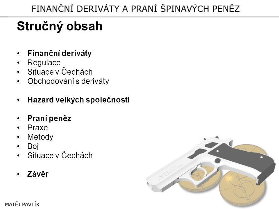 Stručný obsah Finanční deriváty Regulace Situace v Čechách