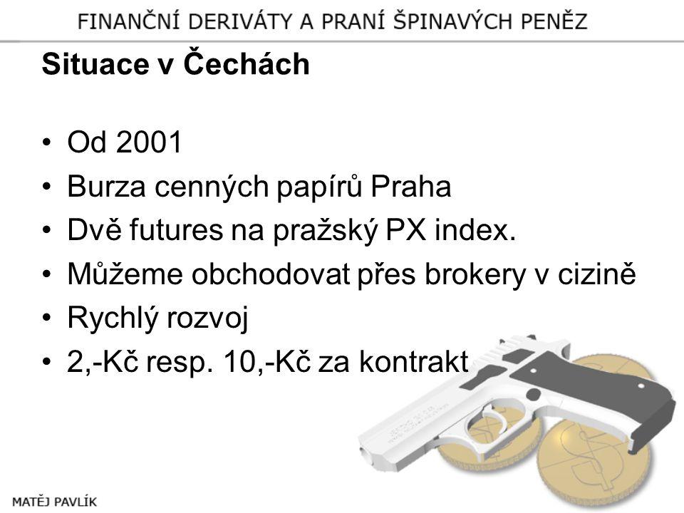 Situace v Čechách Od 2001. Burza cenných papírů Praha. Dvě futures na pražský PX index. Můžeme obchodovat přes brokery v cizině.