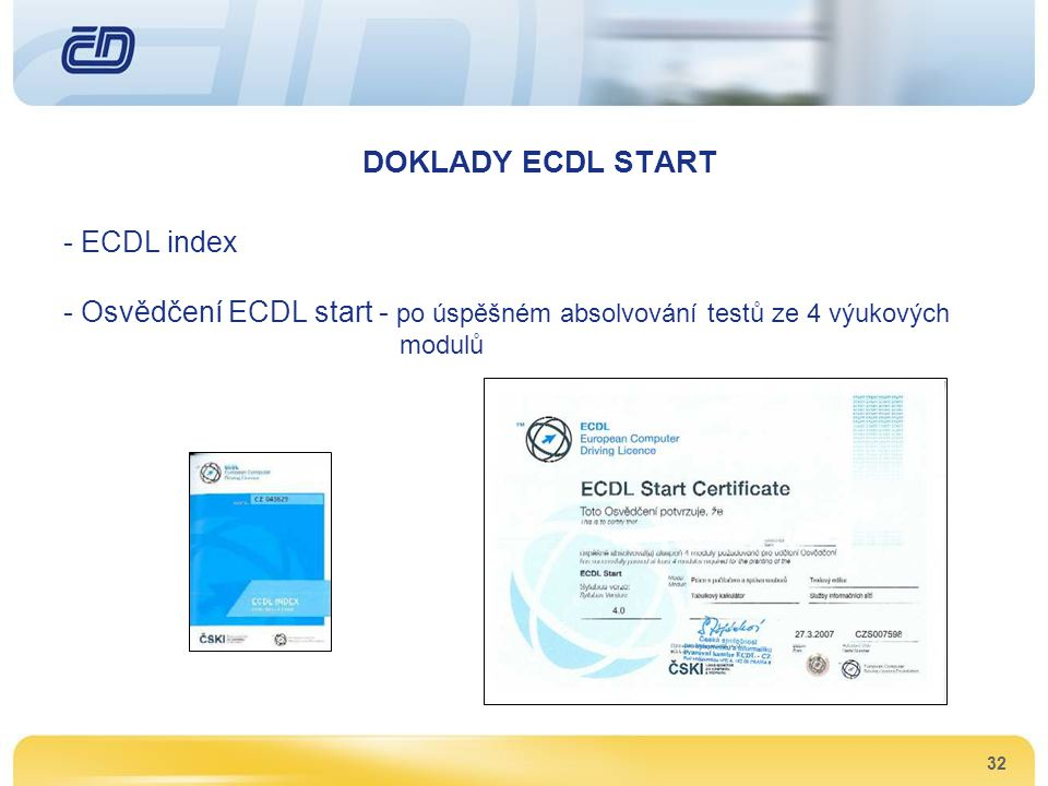 DOKLADY ECDL START ECDL index